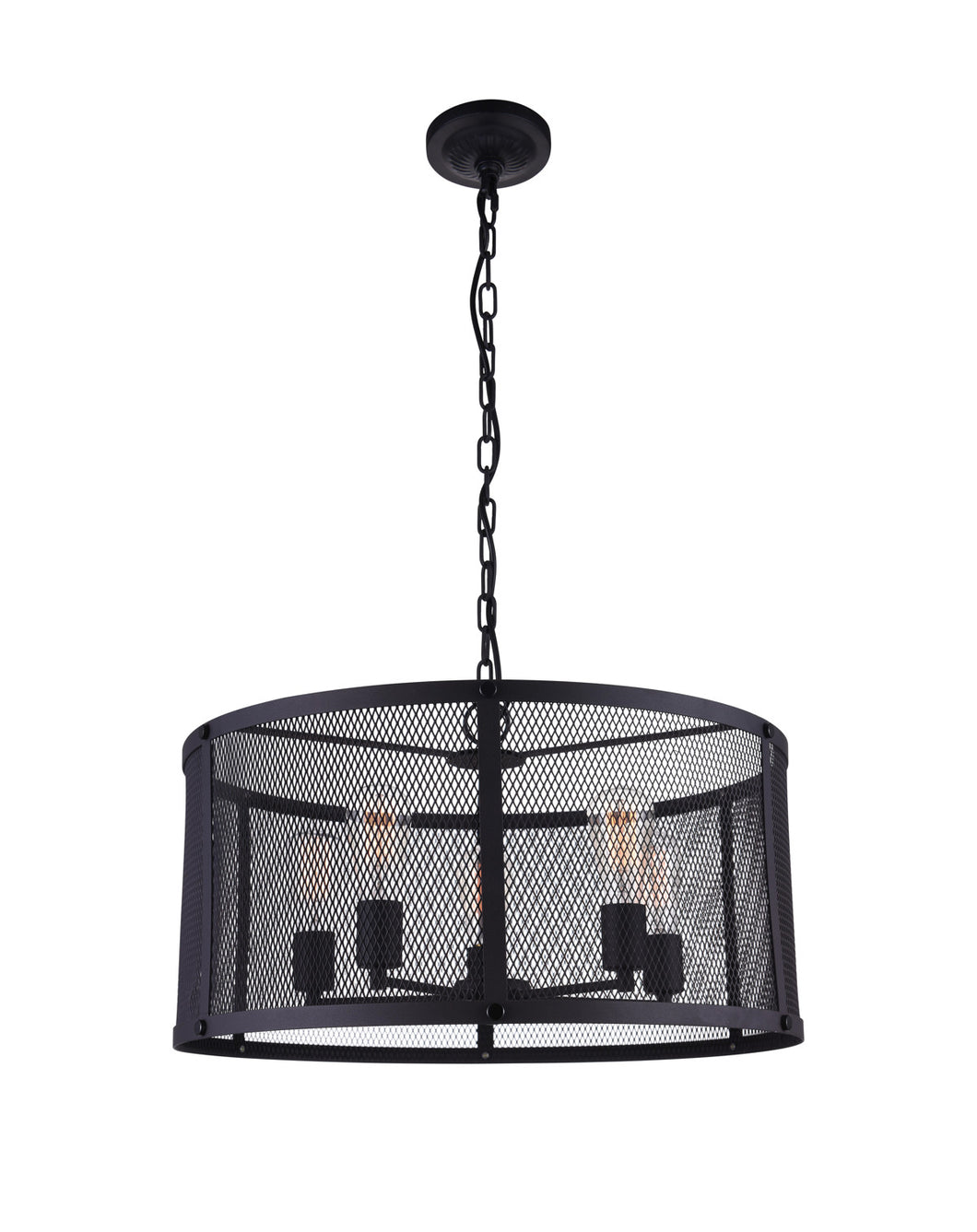 6 Light Drum Shade Pendant with Reddish Black finish