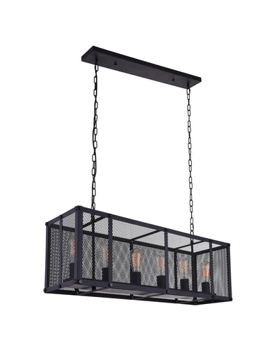 6 Light Island Chandelier with Reddish Black finish