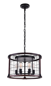 6 Light Drum Shade Pendant with Black finish