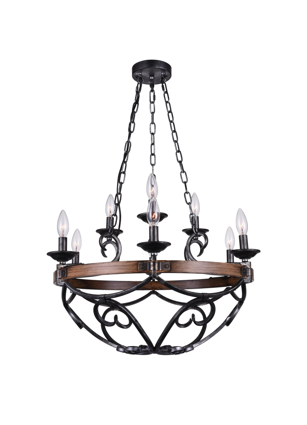 9 Light Candle Chandelier with Gun Metal finish