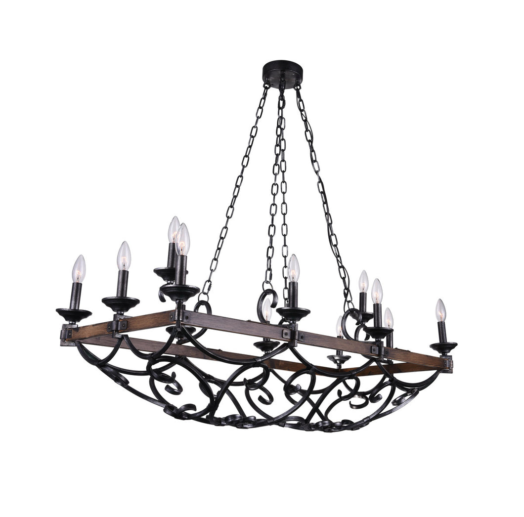 12 Light Candle Island Light with Gun Metal finish