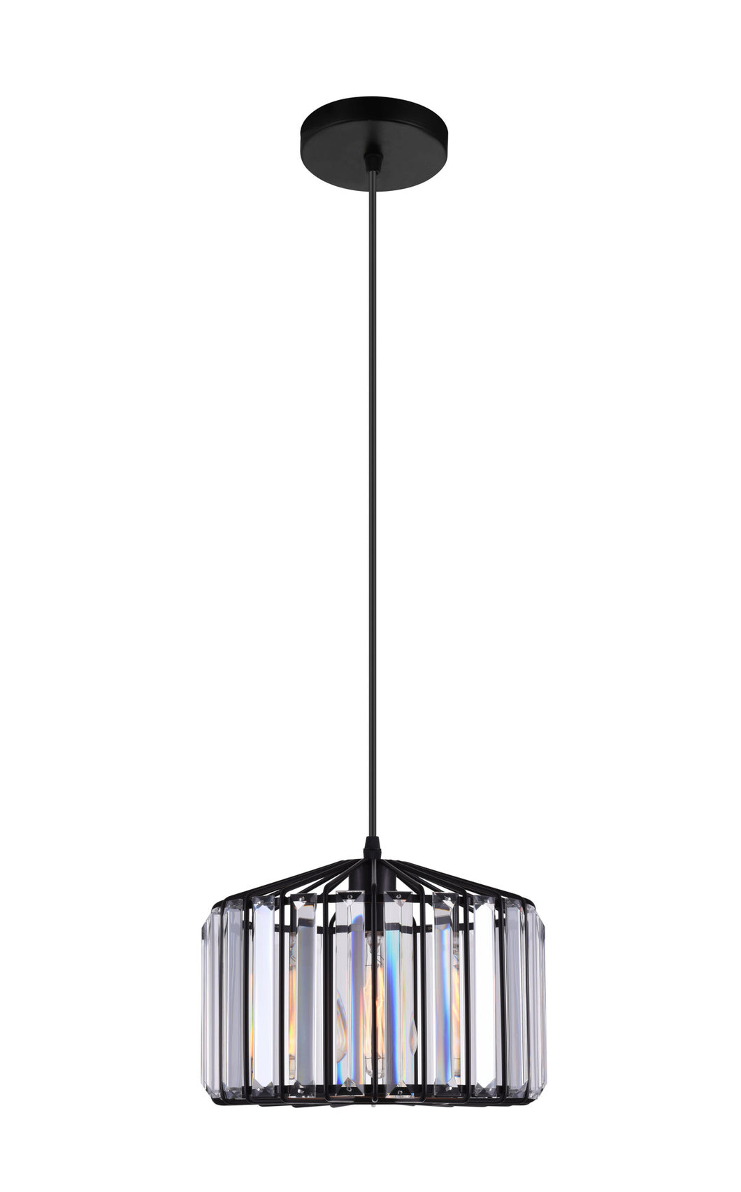 1 Light Drum Shade Pendant with Black finish