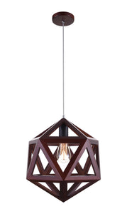 1 Light  Pendant with Black & Wood finish
