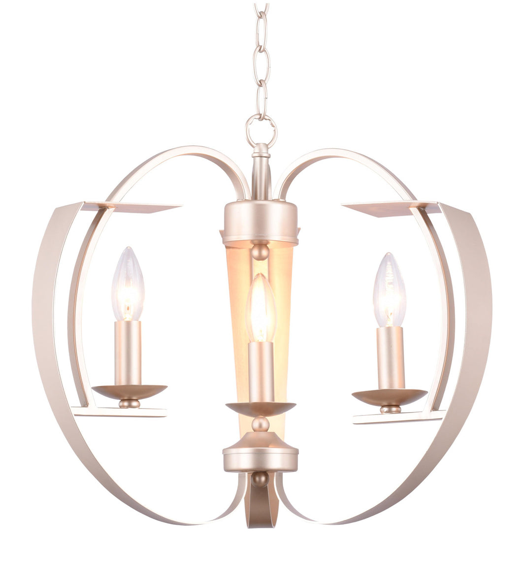 3 Light  Chandelier with Pewter finish