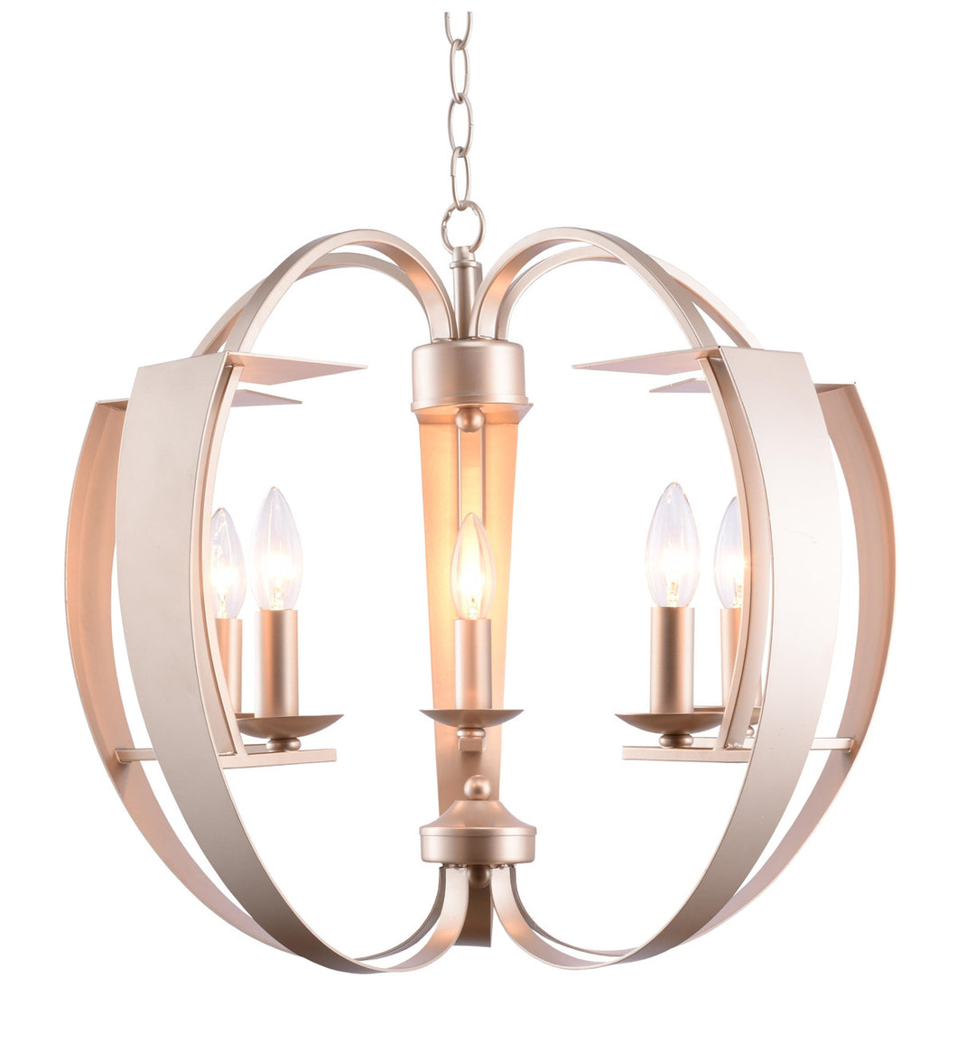 5 Light  Chandelier with Pewter finish