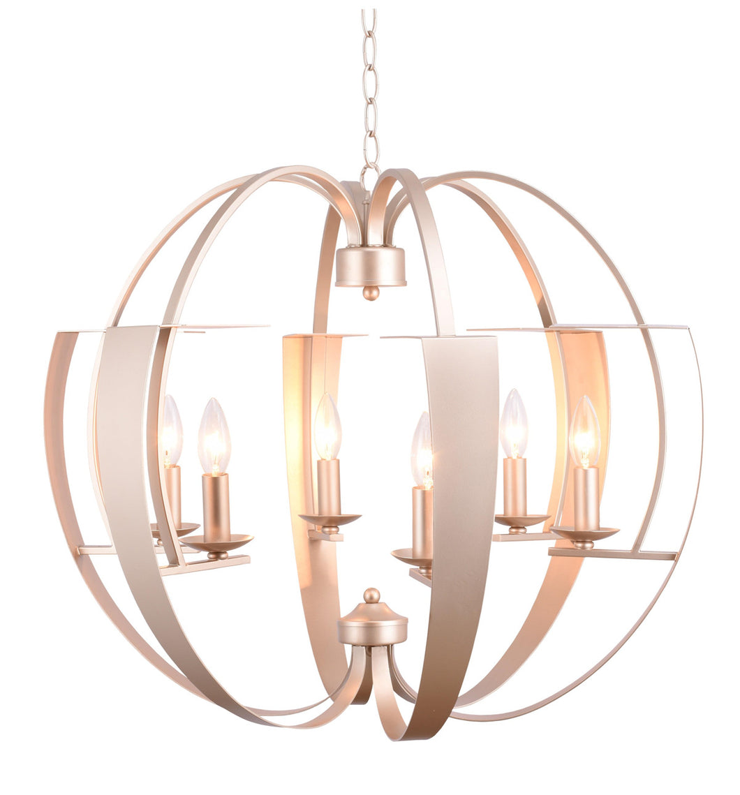 6 Light  Chandelier with Pewter finish