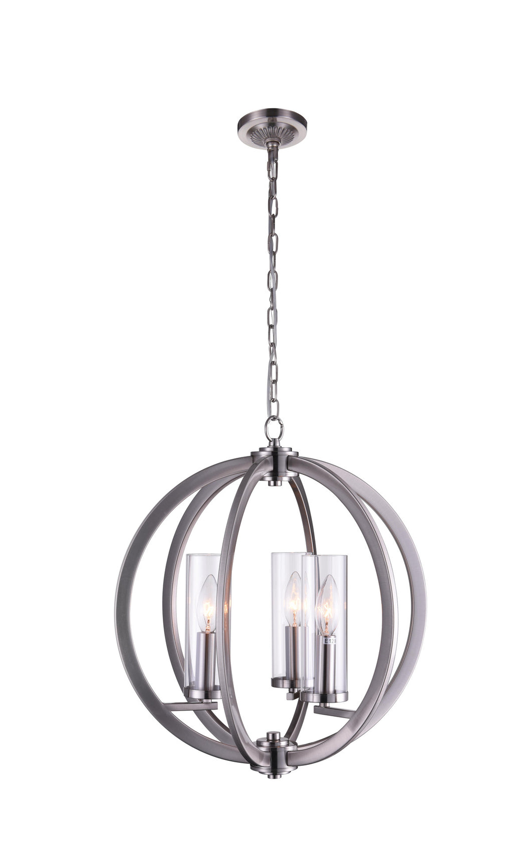 3 Light  Chandelier with Satin Nickel finish