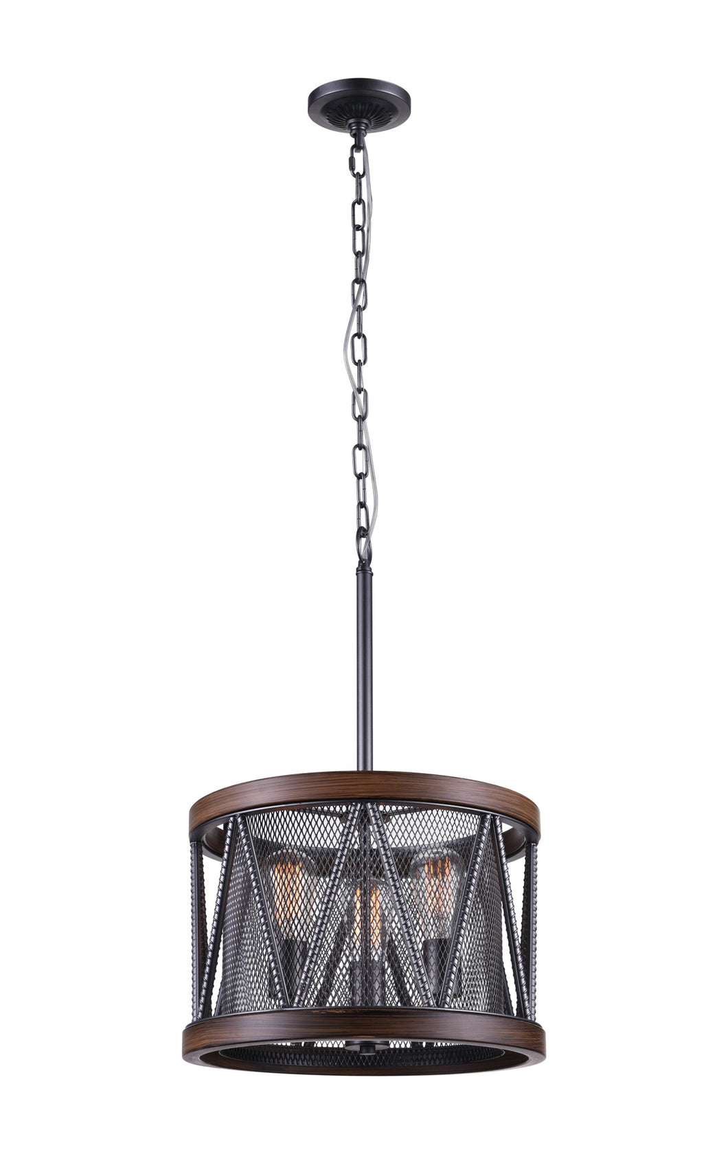 3 Light Drum Shade Chandelier with Pewter finish