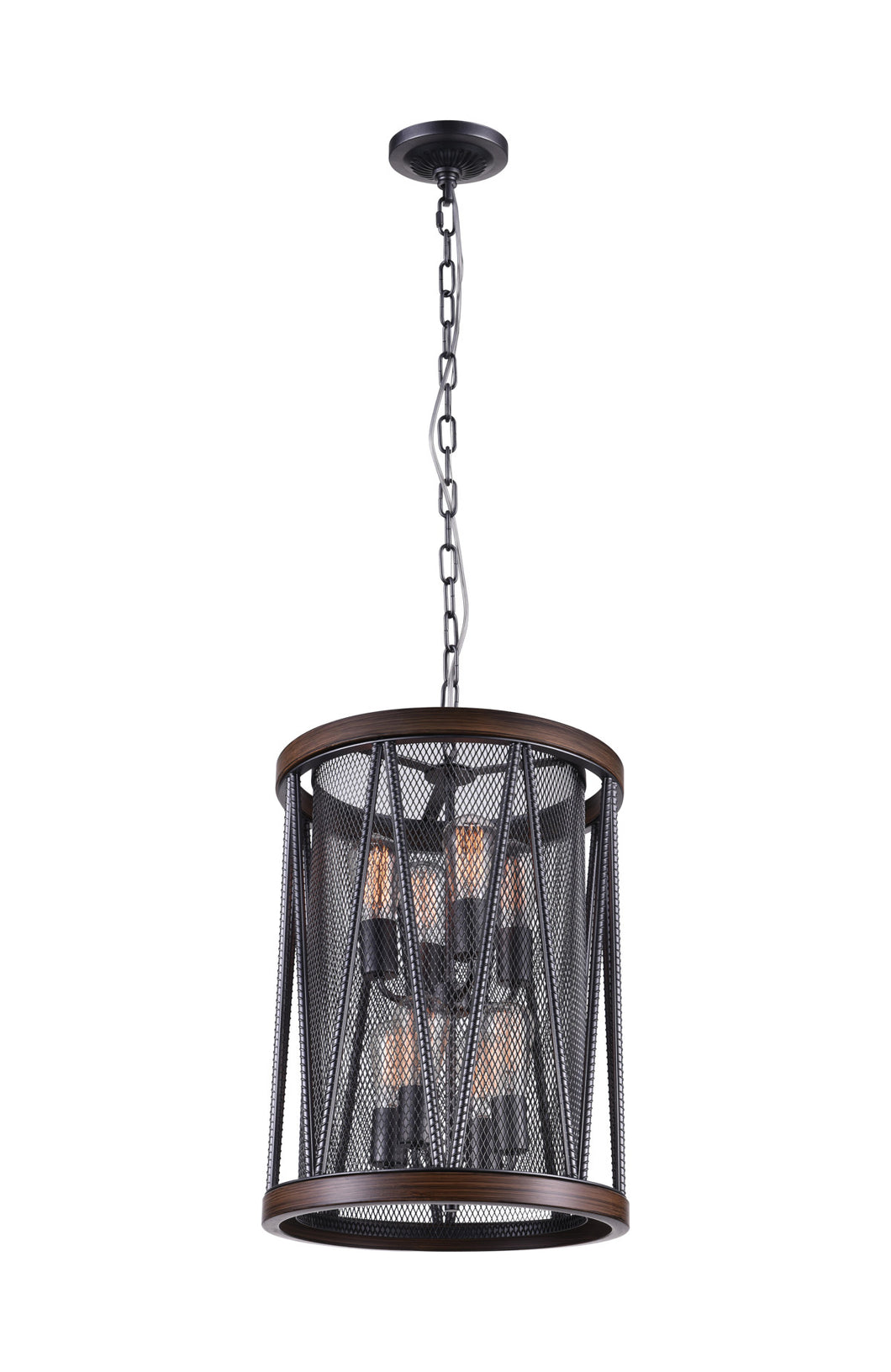 8 Light Drum Shade Chandelier with Pewter finish