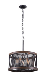 5 Light Drum Shade Chandelier with Pewter finish