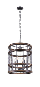 4 Light Drum Shade Chandelier with Gun Metal finish