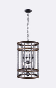 8 Light Drum Shade Chandelier with Gun Metal finish