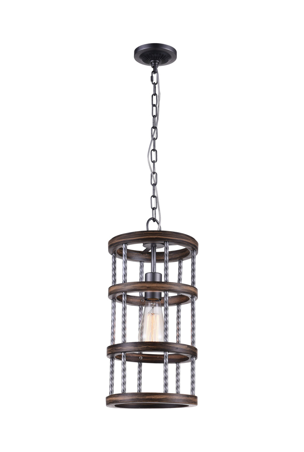 1 Light Drum Shade Mini Chandelier with Gun Metal finish