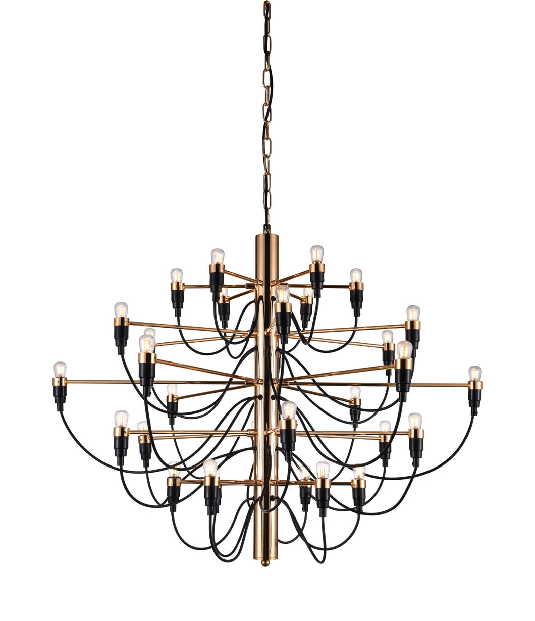 30 Light  Chandelier with Gold finish