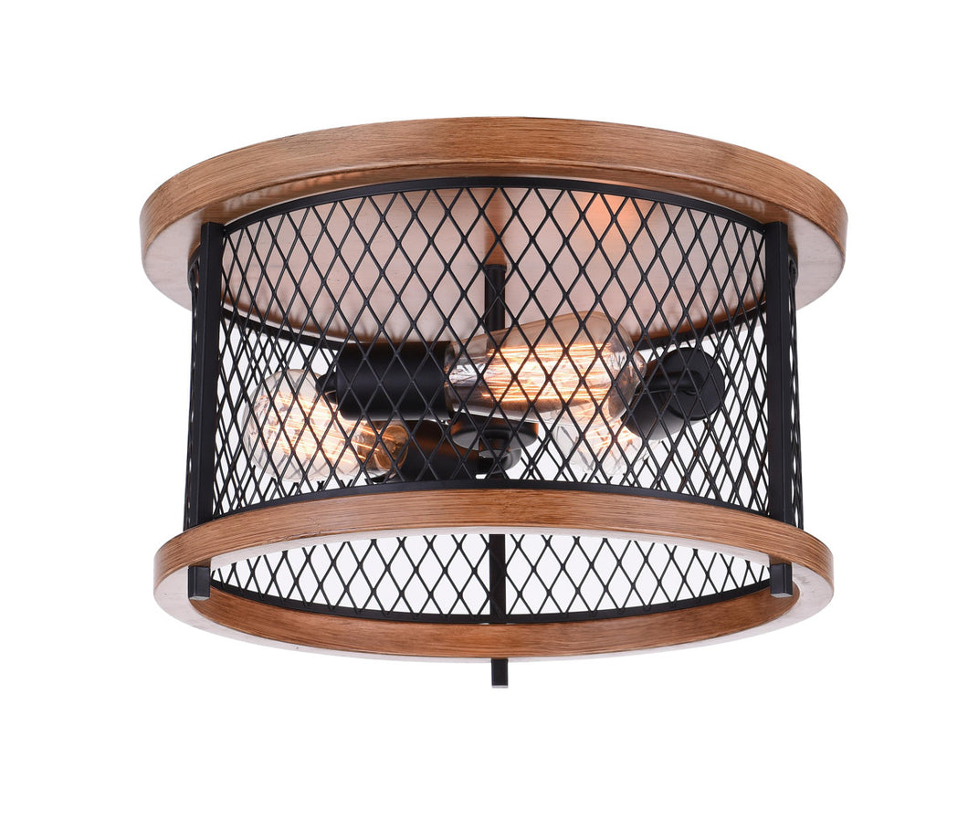 3 Light Cage Flush Mount with Black finish