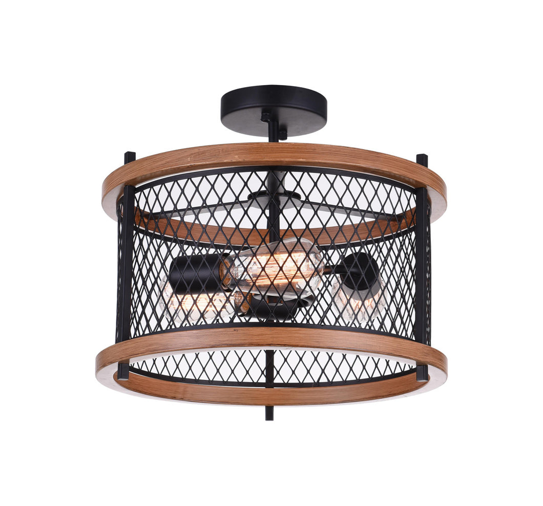 3 Light Cage Semi-Flush Mount with Black finish