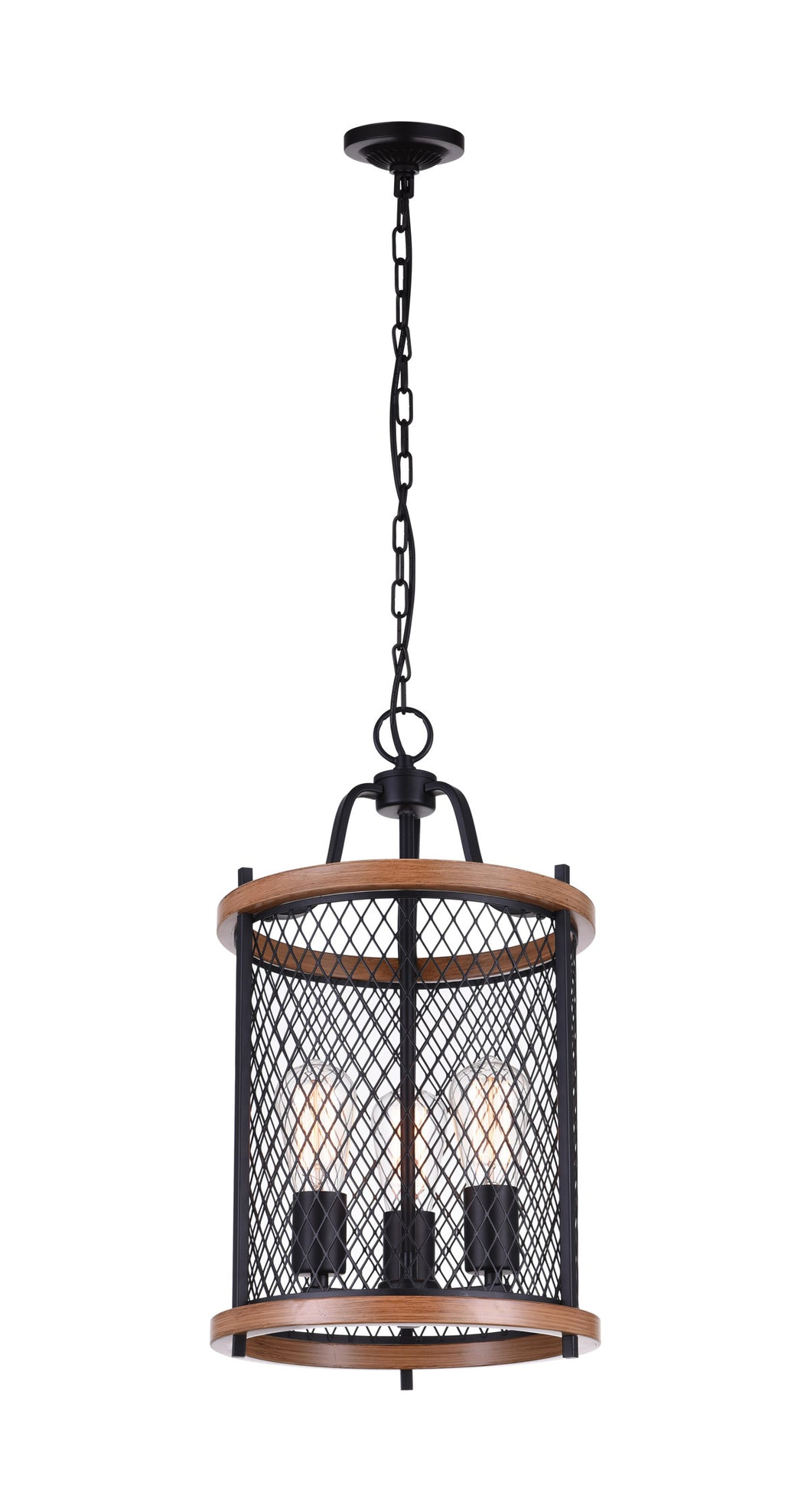 3 Light Drum Shade Mini Chandelier with Black finish