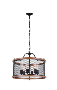 6 Light Drum Shade Chandelier with Black finish
