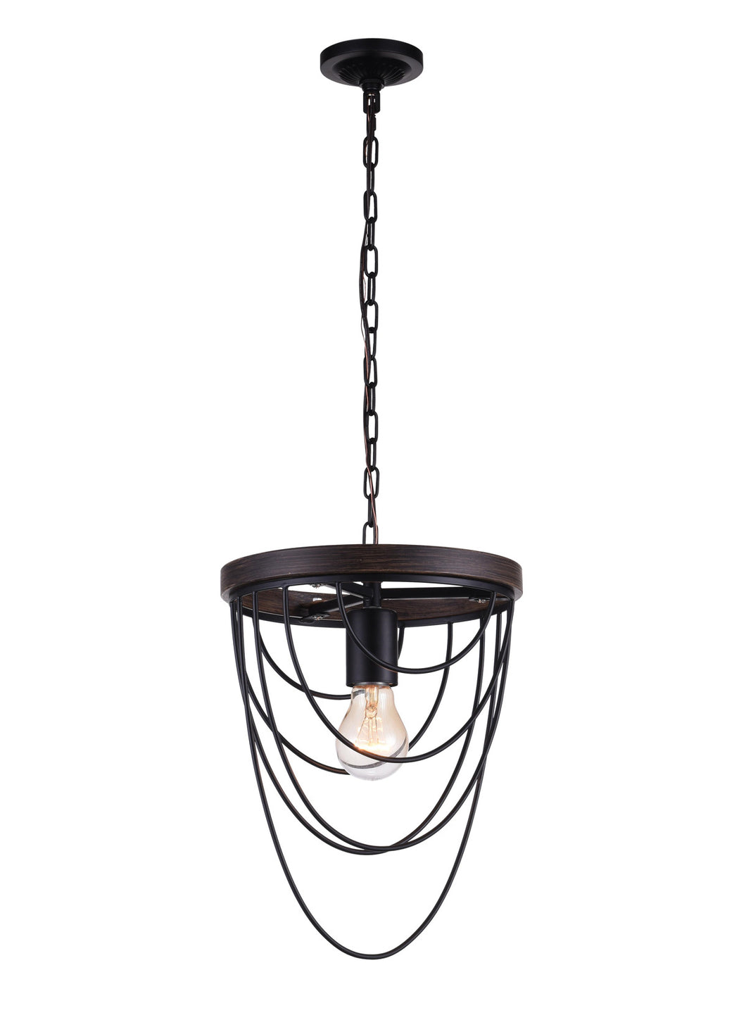 1 Light  Mini Chandelier with Black finish