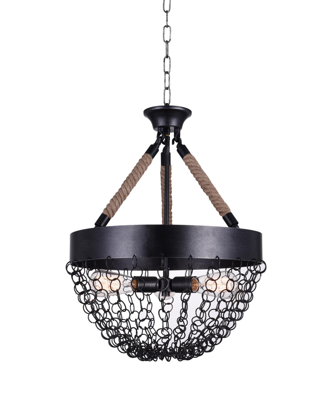 3 Light Down Chandelier with Antique Black finish