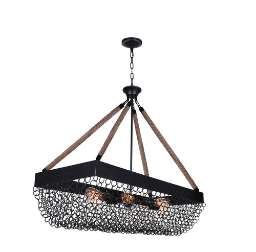 6 Light Island Chandelier with Antique Black finish