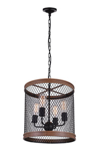 4 Light Drum Shade Chandelier with Black finish