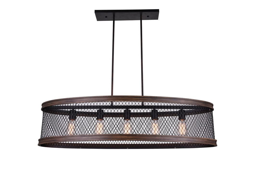 5 Light Drum Shade Island Light with Black finish
