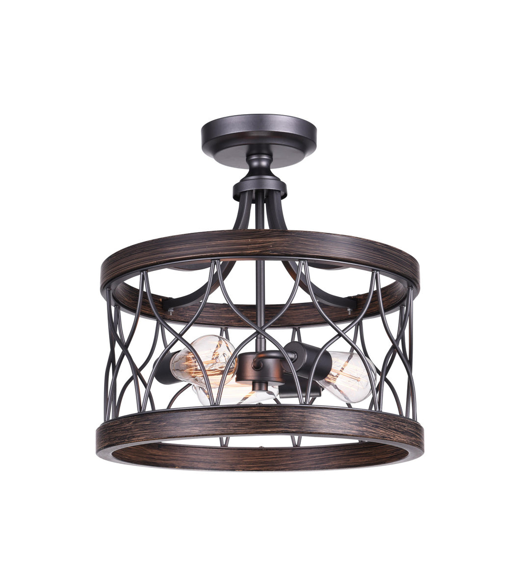 3 Light Cage Semi-Flush Mount with Gun Metal finish