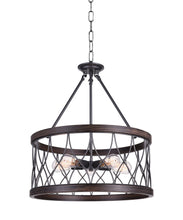 Load image into Gallery viewer, 5 Light Drum Shade Chandelier with Gun Metal finish