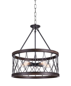 5 Light Drum Shade Chandelier with Gun Metal finish
