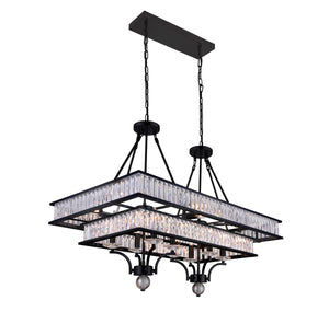 16 Light Island Chandelier with Black finish