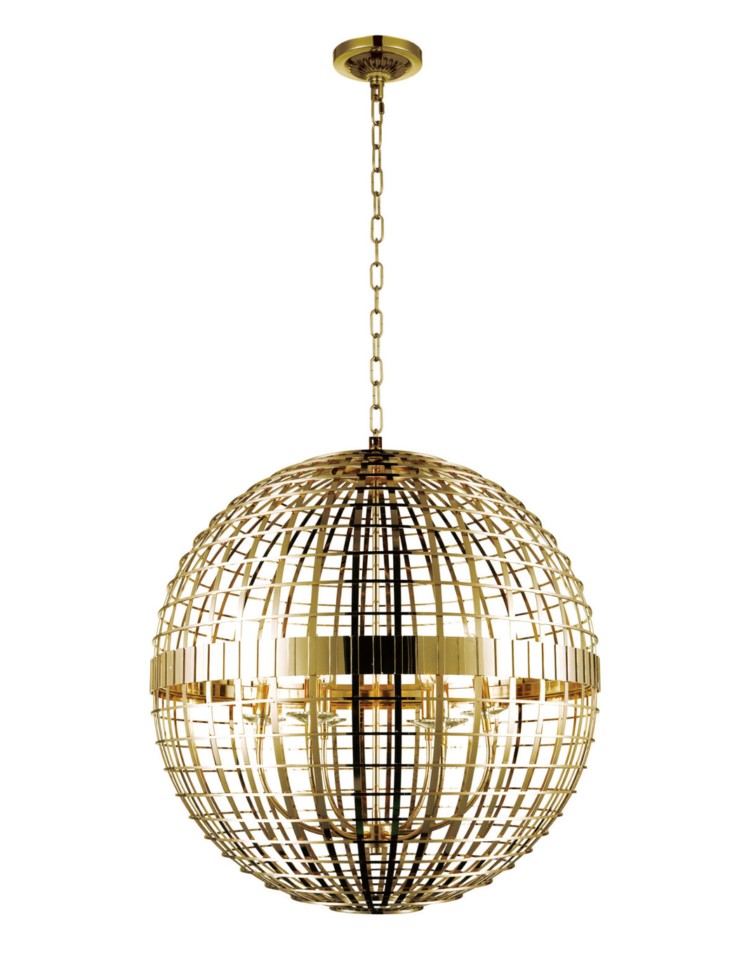 6 Light  Chandelier with Gold finish