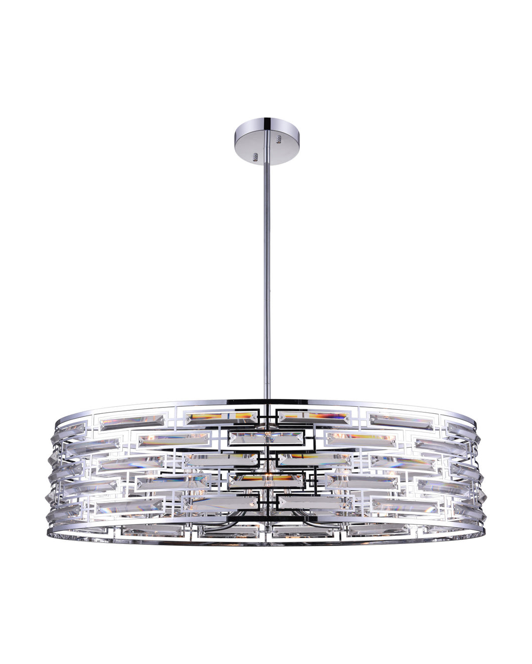 8 Light Drum Shade Island Light with Chrome finish