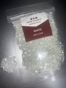 WHITE BROKEN GLASS 100 GRAMS (BIG GLASS)