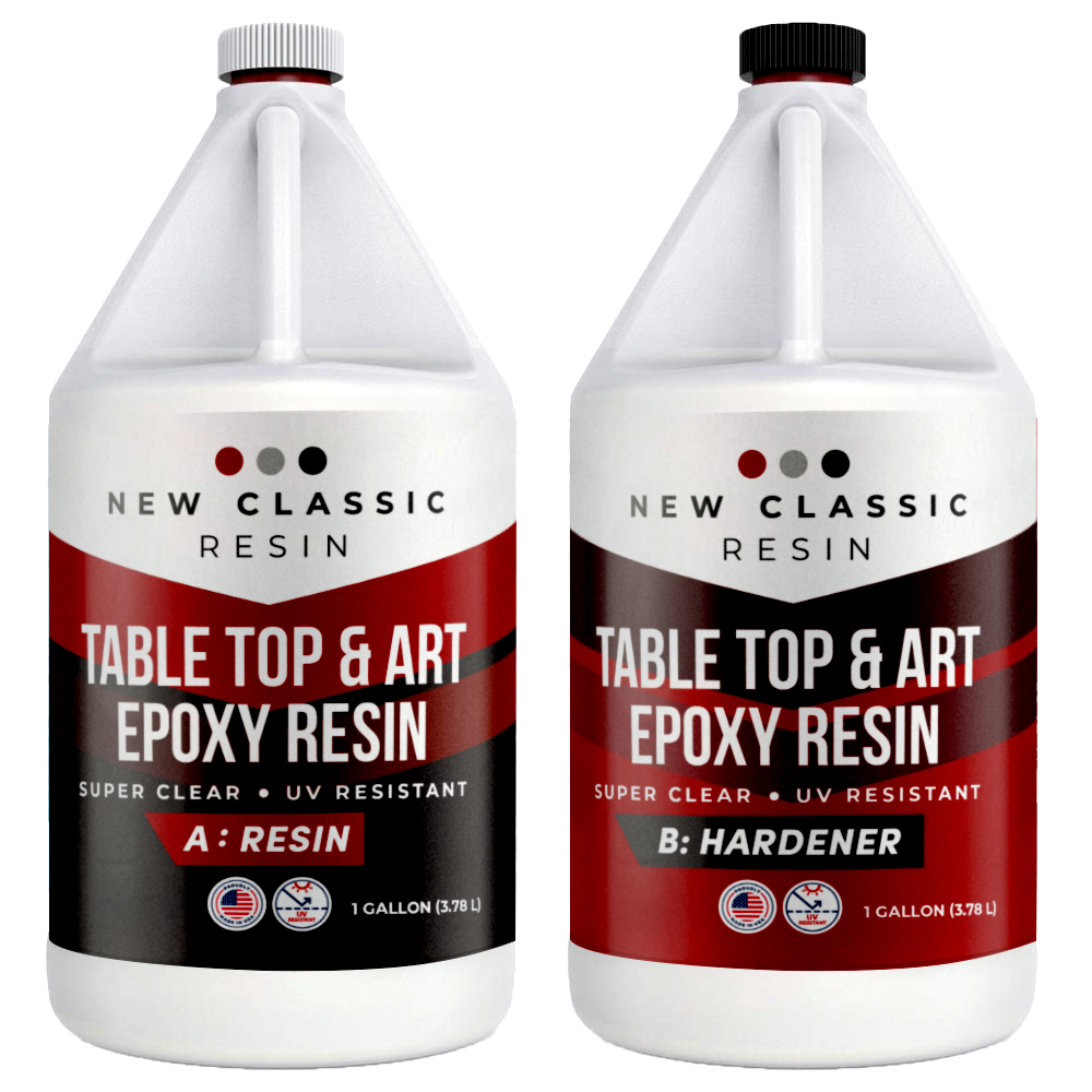 EPOXY RESIN for ART, CRAFT & TABLE TOPS. SUPER CLEAR 2 GAL KIT NEW CLASSIC RESIN