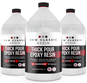 "2"" THICK POUR EPOXY RESIN For ART CASTING & RIVER TABLES, SUPER CLEAR 3 GALLON - NEW CLASSIC RESIN"