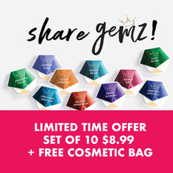 Share GEMZ Limited Offer<br>(set of 10 + FREE cosmetic bag)