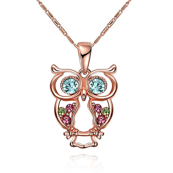 Cute Owl Necklace, Rose Gold Plated
