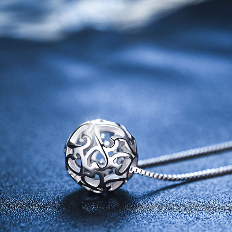 Sterling Silver Hollow Exquisite Ball Necklace