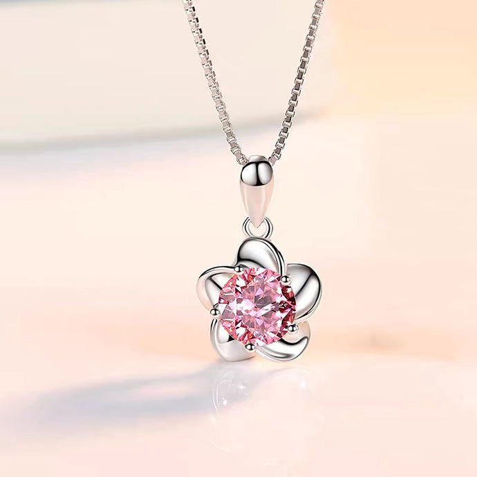 Sterling Silver Peach Blossom Pattern Necklace