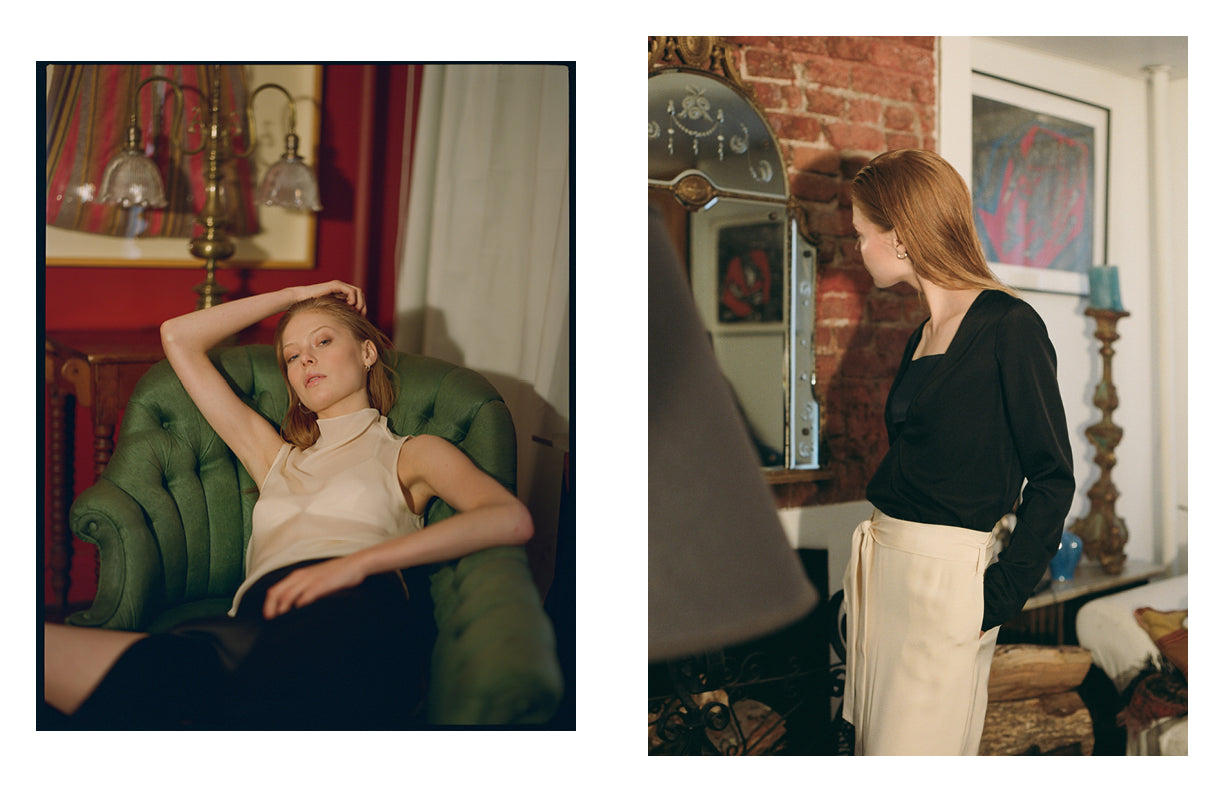 PRAE Muir triangle silk bralette underneath Acacia sheer top, Lillie cut-out silk bralette with Whitely shirt and Oso silk skirt, Sofie Theobald by Crista Leonard - West Village