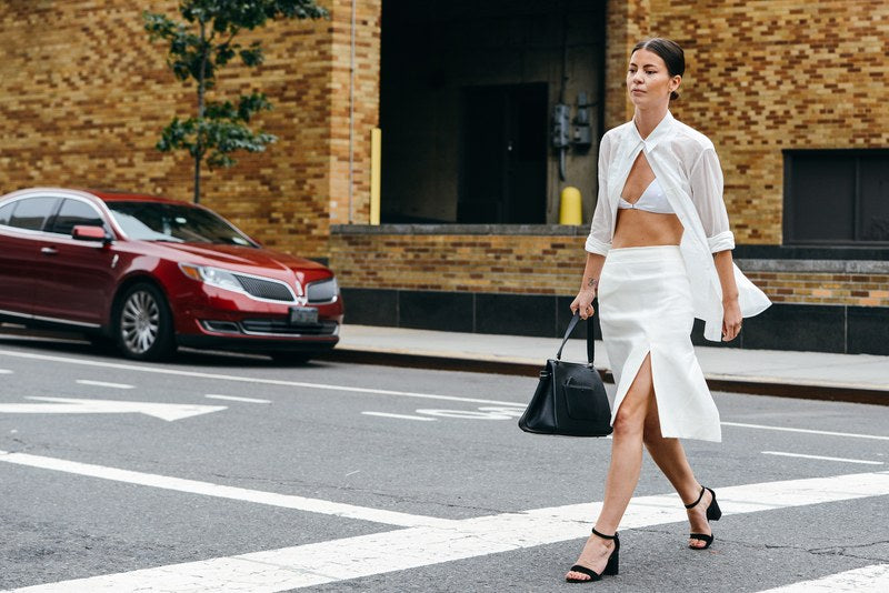 VOGUE.COM Tommy Ton Street Style Annina Mislin open shirt with bralette PRAE