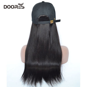 Doores Hair Straight Wigs for Women Human Hair Wigs With Adjustable Baseball Cap Chorliss Duck Tongue Hat With Hair Wigs