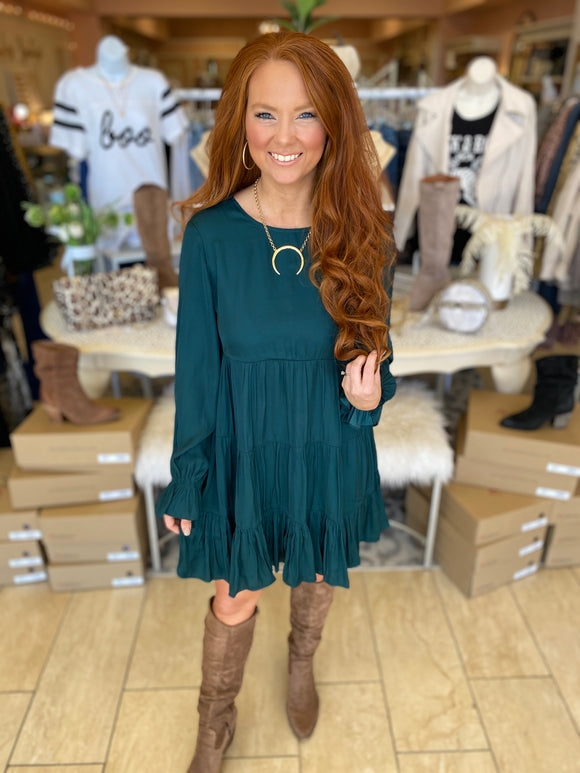 Hunter Green Ruffle Dress