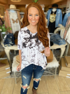 Haley Grey Tie Dye Top