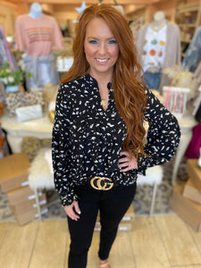 Beverly Black Spotted Top