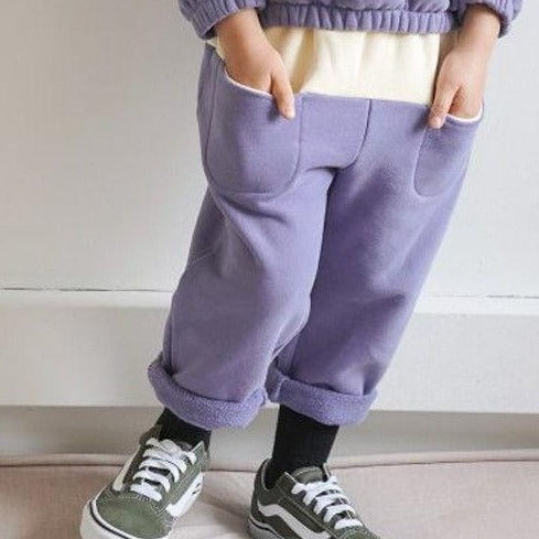 Block Colour Front Pocket Sweat Pants (Lilac)
