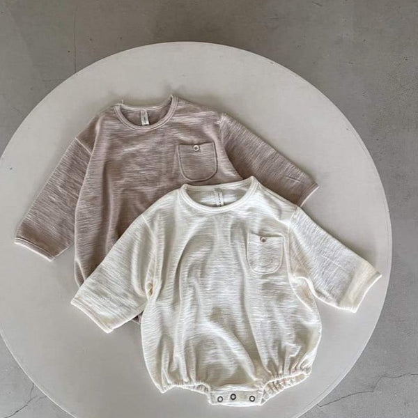 Fifi Long Sleeve Cotton Baby Romper (Latte)