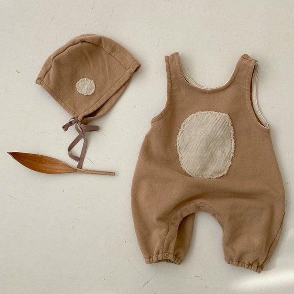 Sascha Dot Romper and Bonnet Set (Toffee)