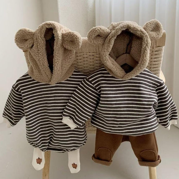 Bear Ears Hood Stripe Bodysuit Romper